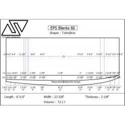 EPS Blanks 6'0'' x 23 5/8'' x 3 1/8'' Stringerless