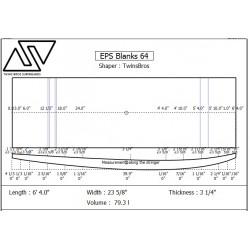 EPS Blanks 6'4'' x 23 5/8'' x 3 1/4'' Stringerless