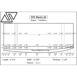 EPS Blanks 6'0'' x 23 5/8'' x 3 1/8'' Stringerless