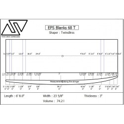 EPS Blanks 6'8'' x 24'' x 3'' Stringerless